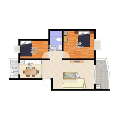 东华花园2室2厅1卫1厨97.00㎡户型图