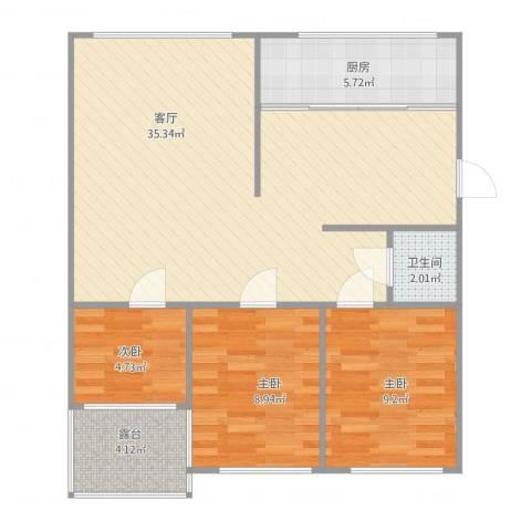 叠翠山庄3室1厅1卫1厨95.00㎡户型图
