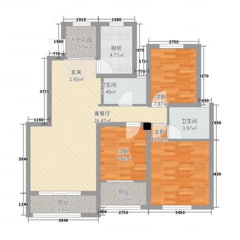 星河蓝湾3室2厅2卫1厨112.00㎡户型图
