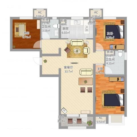 润达万科金域蓝湾3室2厅2卫1厨122.00㎡户型图