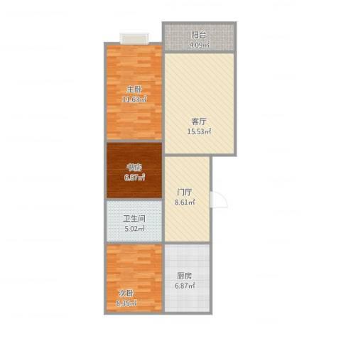 顺平东方新城3室1厅1卫1厨91.00㎡户型图