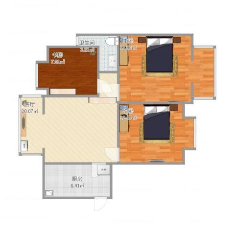 文化名园3室1厅1卫1厨91.00㎡户型图
