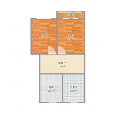 桃一20-5022室2厅1卫1厨44.28㎡户型图