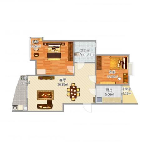 蓝天家园2室1厅1卫1厨84.00㎡户型图