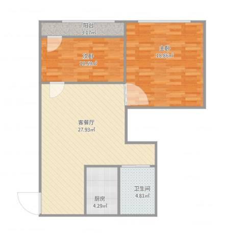 彩香一村五区2室2厅1卫1厨94.00㎡户型图