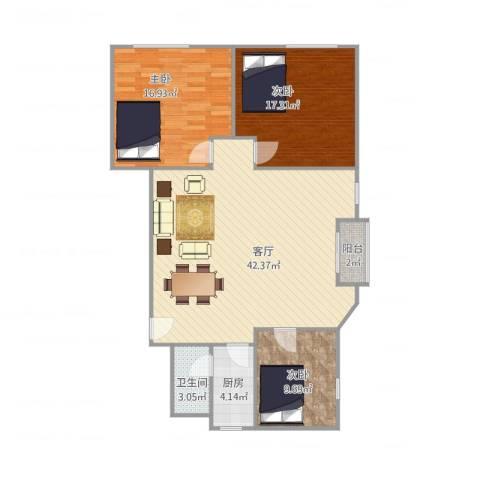 司法大厦3室1厅1卫1厨127.00㎡户型图