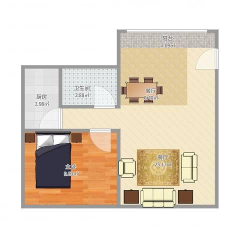 周门小区1室1厅1卫1厨55.00㎡户型图