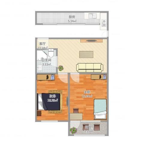 宜川六村2室1厅1卫1厨65.00㎡户型图