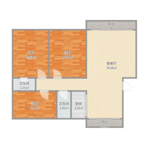 重汽翡翠东郡3室2厅2卫1厨116.00㎡户型图