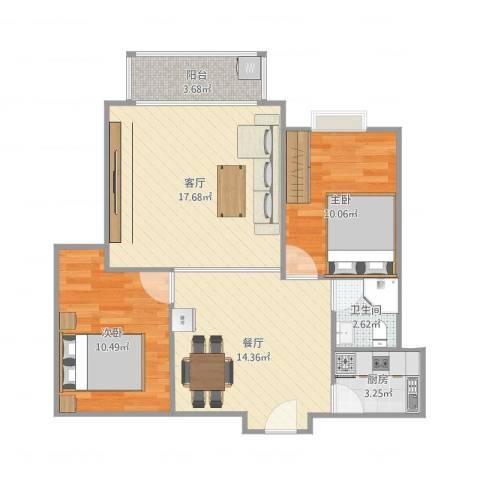 锦绣东城2室2厅1卫1厨84.00㎡户型图