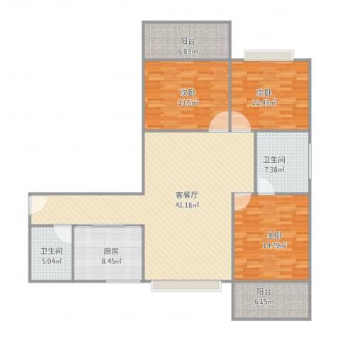 国贸金海岸124平3室2厅2卫1厨155.00㎡户型图