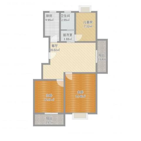 白领国际公寓3室3厅1卫1厨81.62㎡户型图