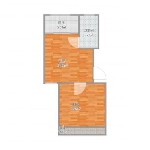嘉城雅颂湾1室1厅1卫1厨66.00㎡户型图