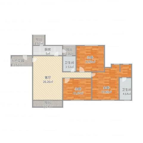 雅庭豪苑3室1厅2卫1厨125.00㎡户型图