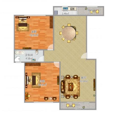 上泰雅苑2室1厅1卫1厨125.00㎡户型图