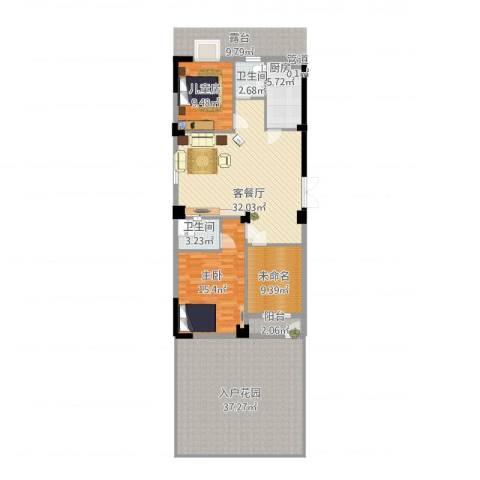 龙海明发广场2室2厅2卫1厨162.00㎡户型图