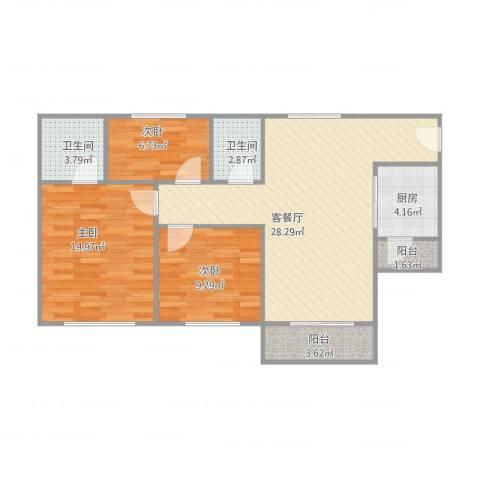 怡翠宏璟10座10043室2厅2卫1厨101.00㎡户型图