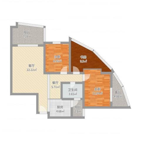 福康瑞琪曼国际社区3室2厅1卫1厨117.00㎡户型图