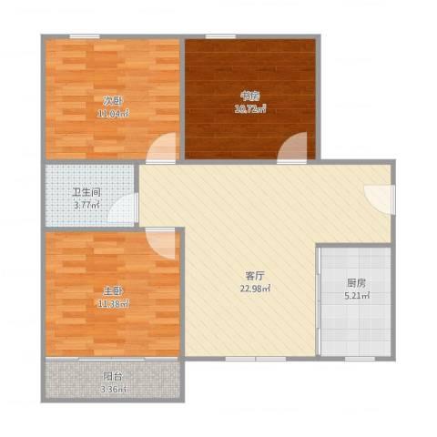 解放新村203号504室3室1厅1卫1厨92.00㎡户型图