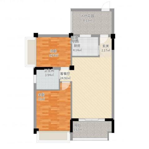 金地华府2室2厅1卫1厨98.00㎡户型图