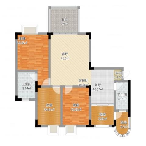 假日滨江花园(二期)3室2厅2卫1厨114.00㎡户型图