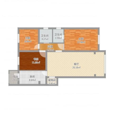 天露园一区3室1厅2卫2厨144.00㎡户型图