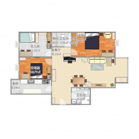 兴隆家园1室2厅2卫1厨131.00㎡户型图