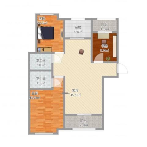 红石原著小区3室1厅2卫1厨136.00㎡户型图