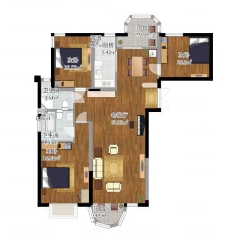 香堤湾3室2厅2卫1厨146.00㎡户型图