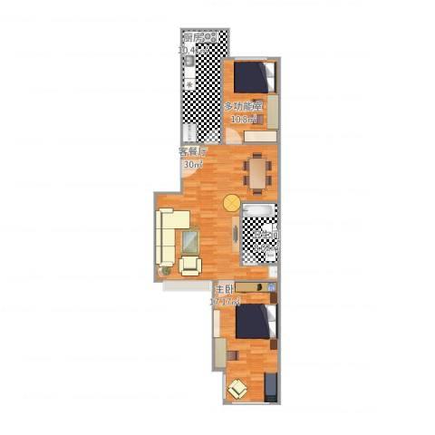 龙腾苑六区1室2厅1卫1厨98.00㎡户型图
