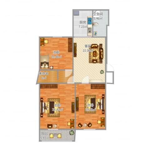 化纤厂宿舍3室1厅1卫1厨139.00㎡户型图