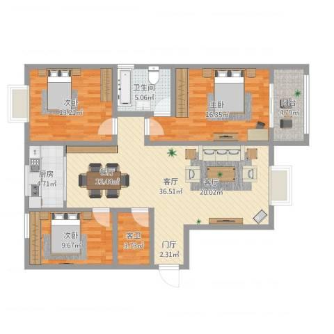 天泰文化苑3室1厅1卫1厨134.00㎡户型图