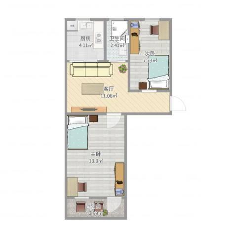 铁桥小区2室1厅1卫1厨57.00㎡户型图