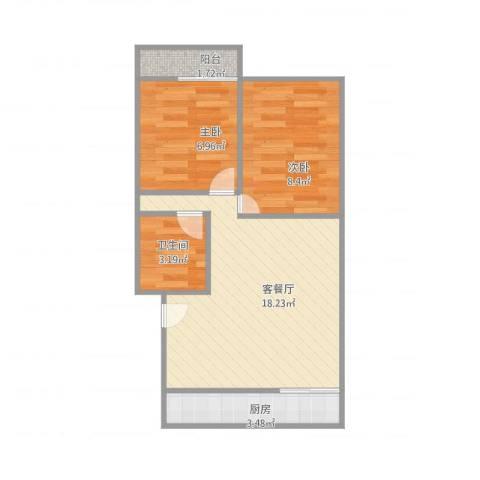 凤凰山路单位宿舍2室2厅1卫1厨58.00㎡户型图