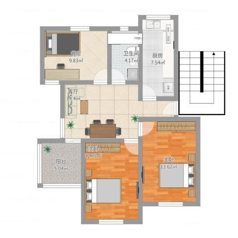 狮山峰汇3室1厅1卫1厨98.00㎡户型图