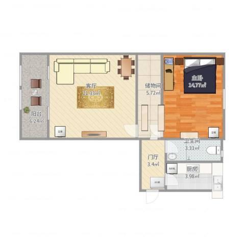 望花路西里1室1厅1卫1厨80.00㎡户型图