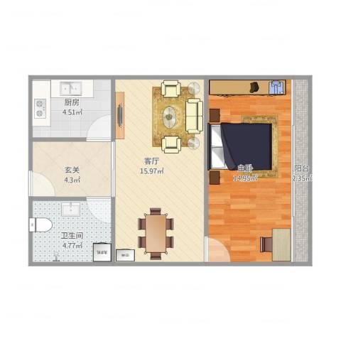 怡景丽苑1室1厅1卫1厨64.00㎡户型图