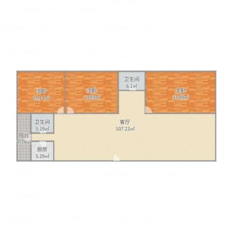 旭翠庭D-4013室1厅2卫1厨290.00㎡户型图