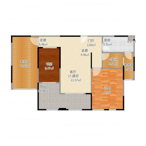华邦光明世家2室1厅1卫1厨122.00㎡户型图