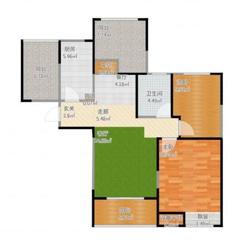浦发御园2室2厅1卫1厨114.00㎡户型图
