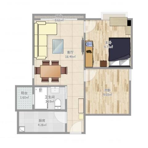 富力天朗明居2室1厅1卫1厨65.00㎡户型图