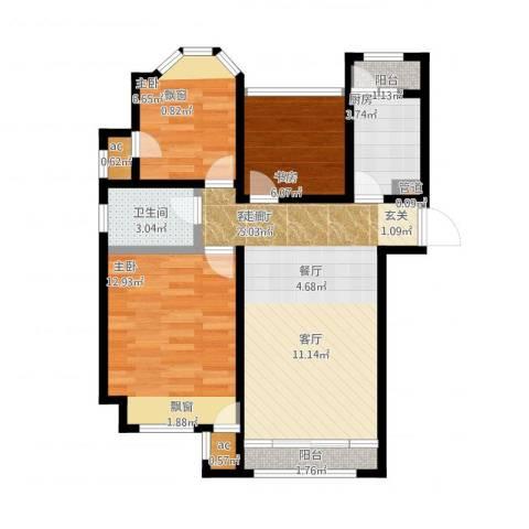 印象欧洲3室2厅1卫1厨85.00㎡户型图