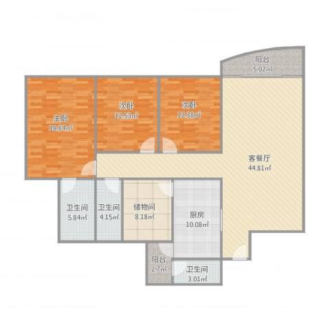 信景花园3室2厅3卫1厨171.00㎡户型图