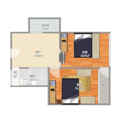 创业新村2室1厅1卫1厨44.83㎡户型图