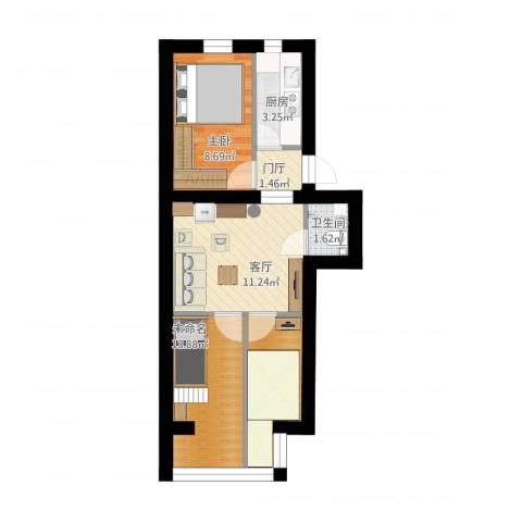 白纸坊25号院1室1厅1卫1厨62.00㎡户型图