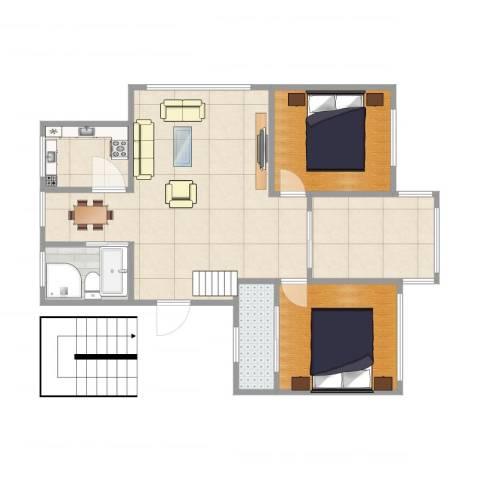 华丰花园1室1厅2卫1厨55.00㎡户型图