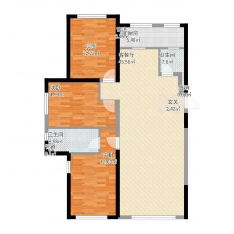 鑫城广场3室2厅2卫1厨136.00㎡户型图