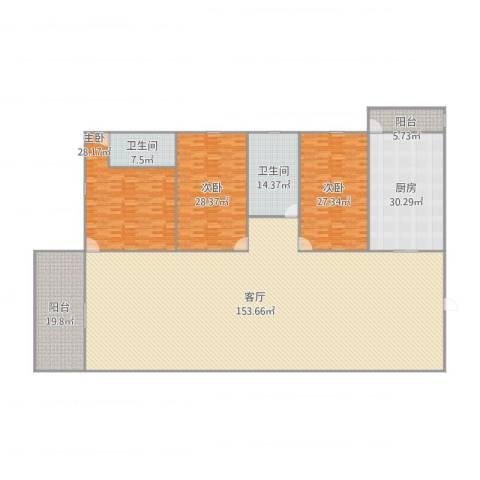 江滨大厦3室1厅2卫1厨327.93㎡户型图