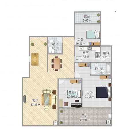 金科东方大院4室1厅1卫1厨199.00㎡户型图