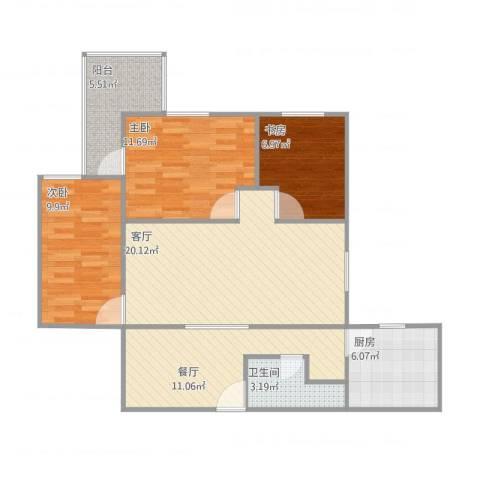 安华西里3室2厅1卫1厨100.00㎡户型图